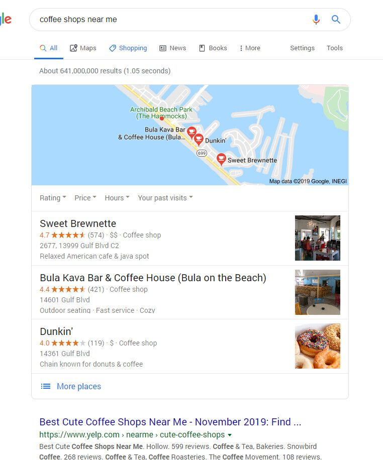 Local Maps Search Results