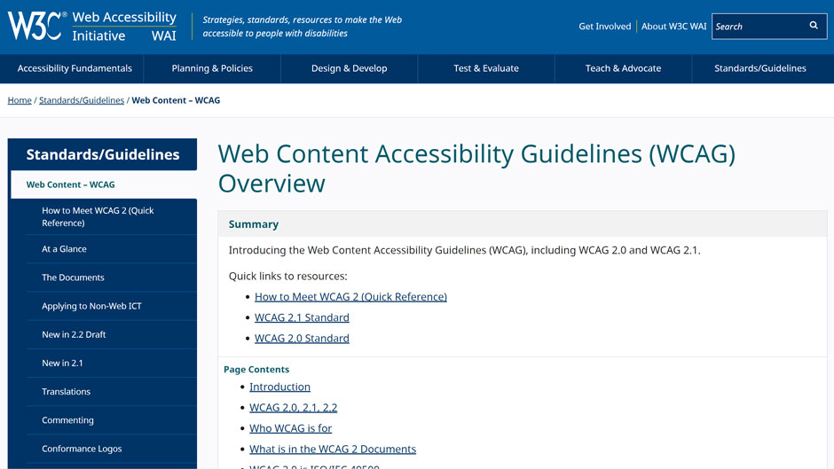WCAG 2.1 by W3C